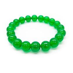Asian Green Jade Beaded Bracelet