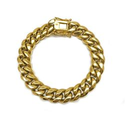 Mens 14KT Gold Plated Cuban Link Bracelet