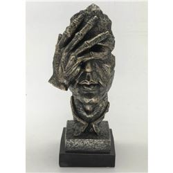 "Surreal Floating Mask Face Palm Shame on Me Cold Cast Metallic Resin Sculpture 13"" x 6"""