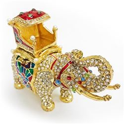 Faberge Elephant Trinket & Jewelry Box Made Crystal Bejeweled Figurine Ring Box
