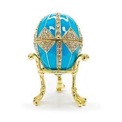 "3.15"" Crystal Rhombus on Blue Enamel Royal Inspired Russian Egg"