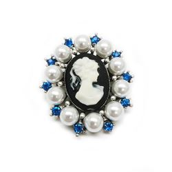 Blue Rhinestone And White Pearl Cameo Broach