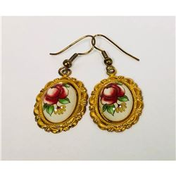 Ladies Vintage Hand Painted Floral Earrings Mounted In 18K Gold Plated Backing