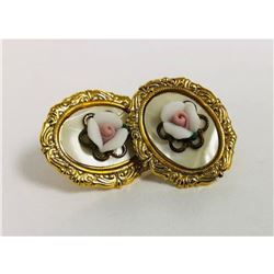 Ladies Vintage Hand Crafted Porcelain Earrings Mounted On Mother Of Pearl, With An 18K Gold Plated B