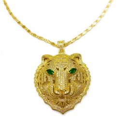 Gold Plated & Bejewelled Lion Head Pendant On 18kt Gold Plated Necklace