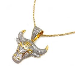 18Kt Gold Plated .69kt Lab Created Diamond Bulls Pendants On 18kt Gold Twist Necklace