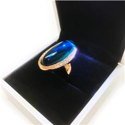 Ladies Rose Gold Ring With Mounted Green Semi-Precious Stone