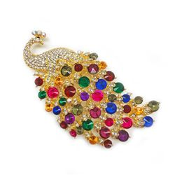Large Royal Multi-Color Jewel Peacock Broach