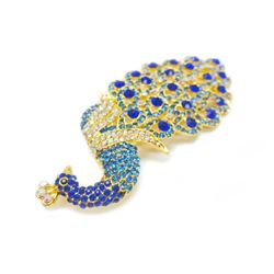 Large Royal Blue Jewel Peacock Broach