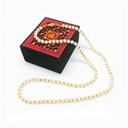 Asian White Jade Necklace 14k Gold Plated Clasp With Chinese Window Shade Box