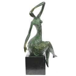 Sensual Nude Woman Abstract Art Bronze Marble Base Sculpture Erotic Art Decor