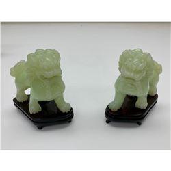 Pair of Jade Imperial Guardian Lions