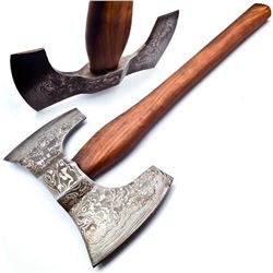 The WARRIORS Hand Made Damascus Steel Forged Double Head WAR Axe With Rose Wood Handle