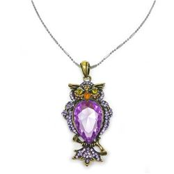 Bejeweled Purple Rhinestone Enchanted Owl Pendant Paired With Necklace Marked 18KGP