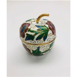 Asian Cloisonne & Enameled Floral Decorated Apple with Lid