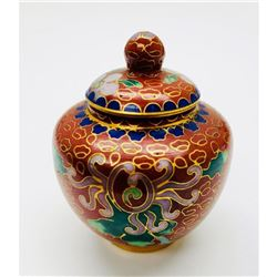 Asian Cloisonne & Enameled Floral Decorated Vessel With Lid