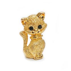 Ladies Gold Tone Cat Brooch With Bejeweled Eyes