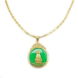 Chinese Green Jade Resting Buddha Paired With An 18 Karat Gold Plated Necklace