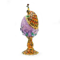 Exquisite Bejewelled Faberge Peacock Inspired Egg