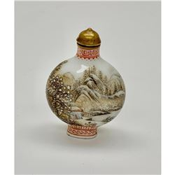 Hand Painted Snow-covered Landscape Statue Snuff Bottle
