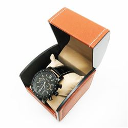 Mens L.A Banus Midnight Black Chrome Finish & Genuine Leather Band Chronograph Watch