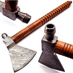 Hand Made Damascus Steel Forged Axe With Rose Wood Handle