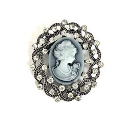 Ladies Elegant Cameo Of A Beauty With Semi Precious Stones