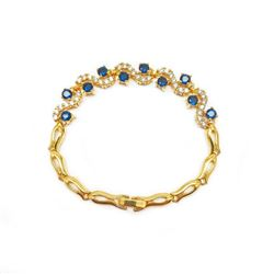 Bejewelled Blue & White Stone Gold Plated Ladies Bracelet