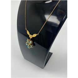Ladies .34ct Tear Drop Cut Sky Blue Citrine & 10K Gold Plated Gold Flower Necklace