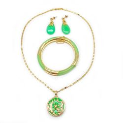 4 Piece Gold Plated & Green Jade Jewelry Set.
