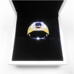 Size 10 Mark S925 Gold Plated Black Stone Mens Ring With LED Ring Box