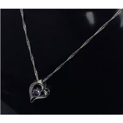 Sterling Silver Purple Rhinestone Heart Pendant Paired With 925 Twist Link Necklace