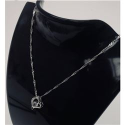 Sterling Silver Rhinestone Heart Pendant Paired With 925 Twist Link Necklace