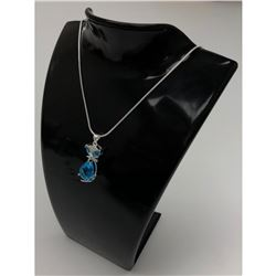 Sterling Blue Rhinestone Cat Pendant Paired With Silver 925 Snake Link Necklace