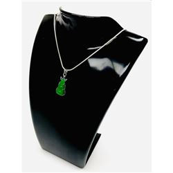 Unique 925 Silver Green Jade Pendant Paired With Sterling Silver 925 Necklace