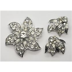 VTG RHINESTONE BROOCH / EARRING SET