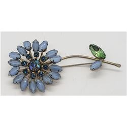 WEISS FLOWER PIN / BROOCH BLUE TONES