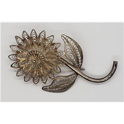 925 SILVER FILIGREE FLOWER BROOCH