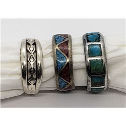 3-STERLING NAVAJO RINGS