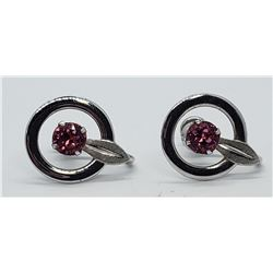 VAN DELL STERLING EARRINGS w/PINK STONE