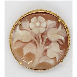 14k GOLD SHELL FLOWER CAMEO PIN