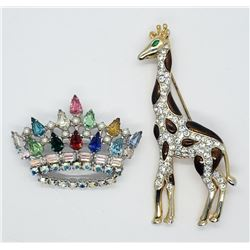 Signed B David Rhinestone Royal Crown Brooch
