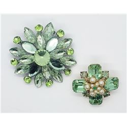 (2) GREEN RHINESTONE BROOCHES