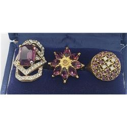 3-PURPLE STONE FASHION RINGS