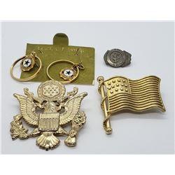 USA LOT: FLAG & EAGLE PINS;