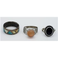 (3) STERLING RING LOT - TURQUOISE/ABALONE
