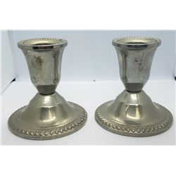 (2) SILVERPLATED CANDLE STICK HOLDERS
