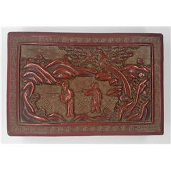Vintage Chinese Carved Red Cinnabar Jewelry