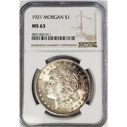 1921 Morgan Silver Dollar $1 NGC MS63