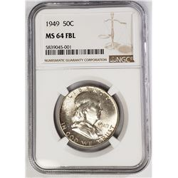 1949 50C Franklin Half Dollar NGC MS64 FBL
